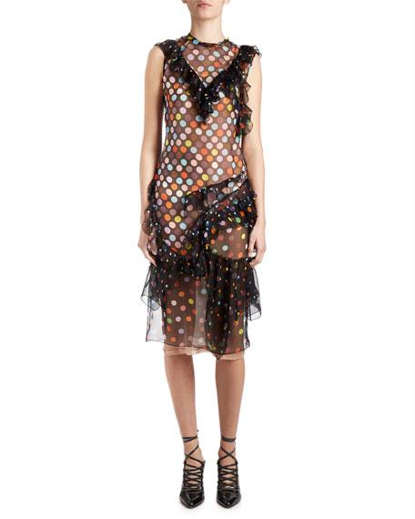 Givenchy Vintage-Dot Ruffled Sleeveless Dress, Black/Multi