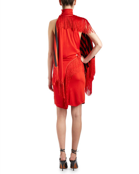 Fringed Mock-Neck Dress w/Cape, Red