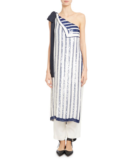 One-Shoulder Striped Silk Chiffon Top, White/Blue