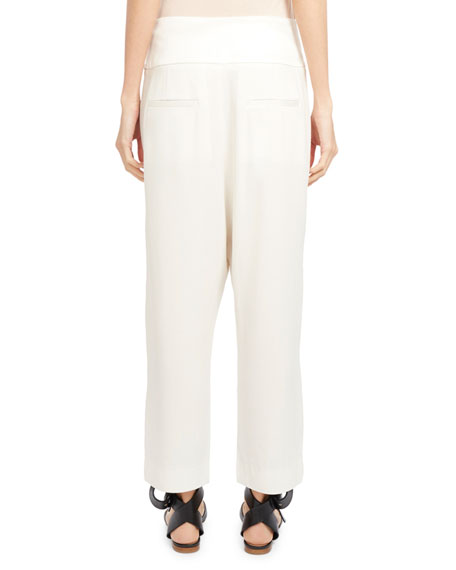 Crepe Wide-Leg Ankle Pants, Ivory
