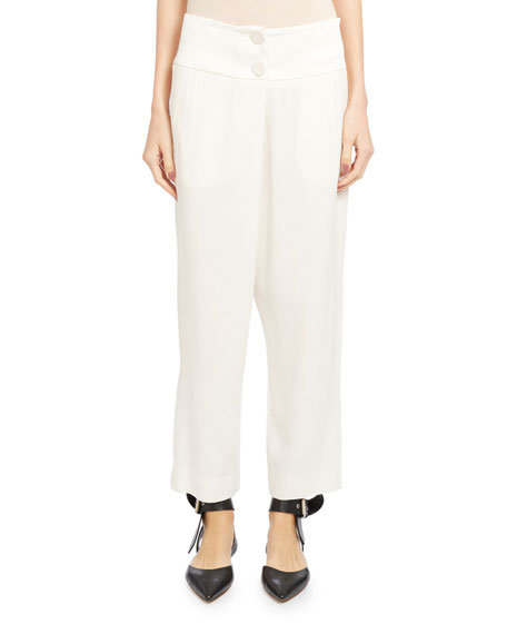 Monse Crepe Wide-Leg Ankle Pants, Ivory
