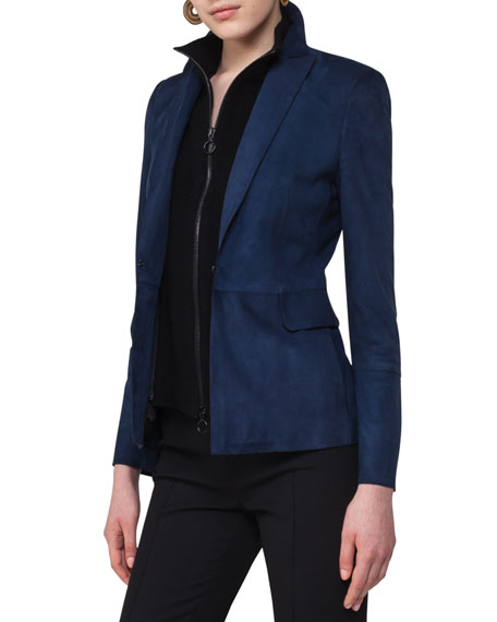 Akris punto Suede Blazer with Detachable Wool Vest,