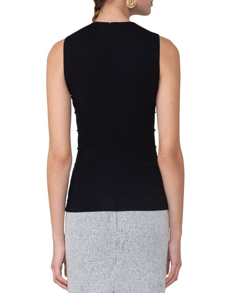 Cutout-Shoulder Sleeveless Knit Top, Black