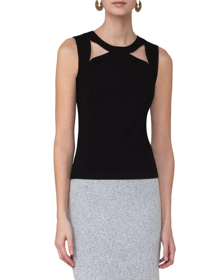 Cutout-Shoulder Sleeveless Knit Top, Black