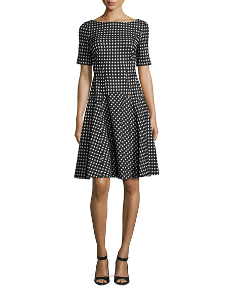 Reversible Gingham Jacquard Boat-Neck Dress, White/Black