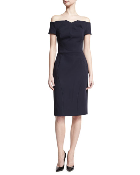 Zac Posen Off-the-Shoulder Crepe Sheath Dress, Navy