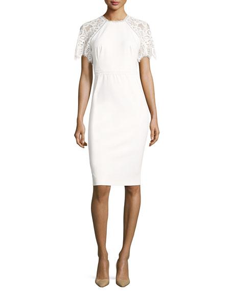 Lela Rose Lace-Sleeve Sheath Dress, White