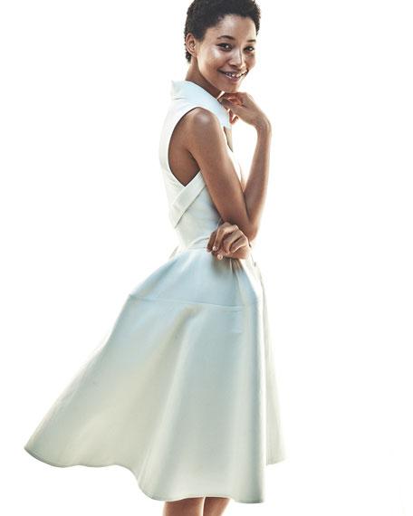 Sleeveless Knot-Waist A-Line Shirtdress, White
