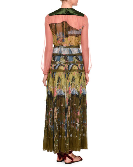 Garden of Delight Printed Long-Sleeve Gown, Multi