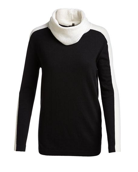 Mesh-Stripe Cowl-Neck Sweater