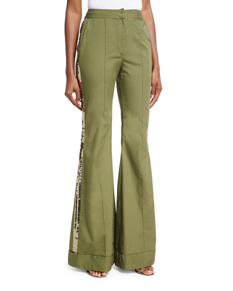 Johanna Ortiz Embera Sequined-Stripe Flared Pants, Olive