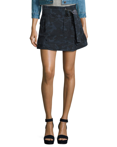 Marc Jacobs Belted Cargo-Pocket Mini Skirt, Blue Camouflage