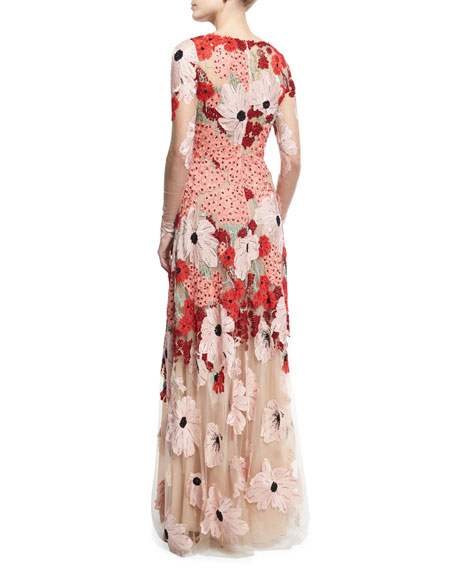 Floral Embroidered Long-Sleeve Gown, Pink/Multicolor