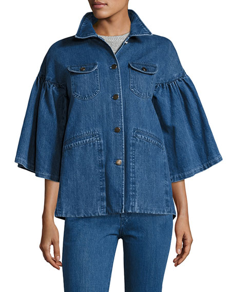 Co Flared-Sleeve Denim Jacket, Indigo and Matching Items