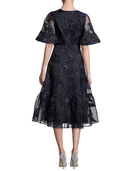 Iris Embroidered Organza A-Line Midi Dress, Blue