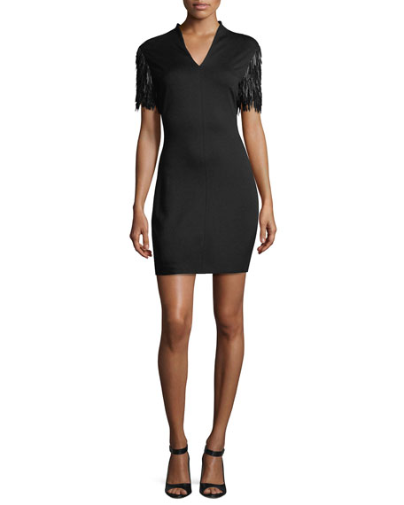 Escada V-Neck Fringe-Sleeve Dress, Black