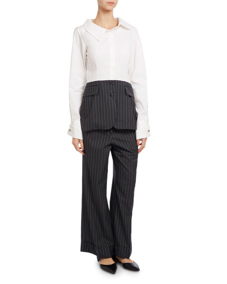 Long-Sleeve Poplin & Striped Gabardine Blouse