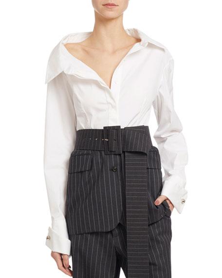 Monse Long-Sleeve Poplin & Striped Gabardine Blouse, White/Gray