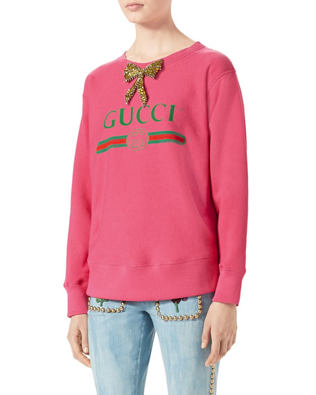 Gucci-Print Sweatshirt with Crystal Bow, Bright Pink and