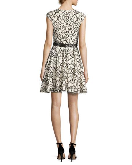Floral Lace Cap-Sleeve Dress, White/Black