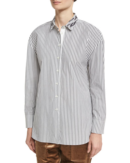 Brunello Cucinelli Striped Cotton Shirt with Animale Paillette