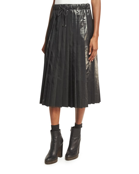 Brunello Cucinelli Metallic Taffeta Pleated Skirt, Charcoal