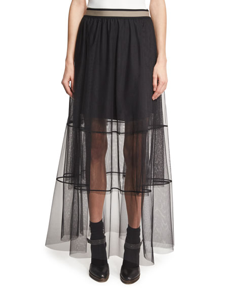 Brunello Cucinelli Sheer Tiered Tulle Maxi Skirt with