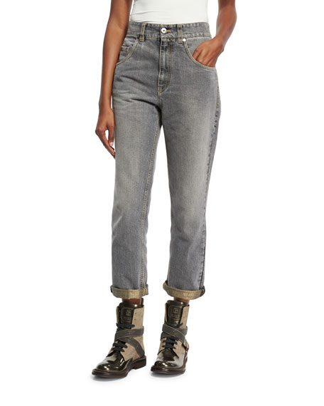 Brunello Cucinelli High-Waist Boyfriend Jeans, Gray and Matching