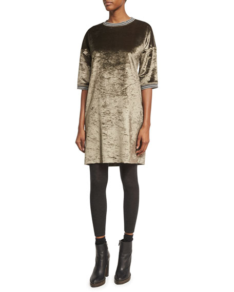 Brunello Cucinelli Velvet 1/2-Sleeve Dress with Varsity Stripes