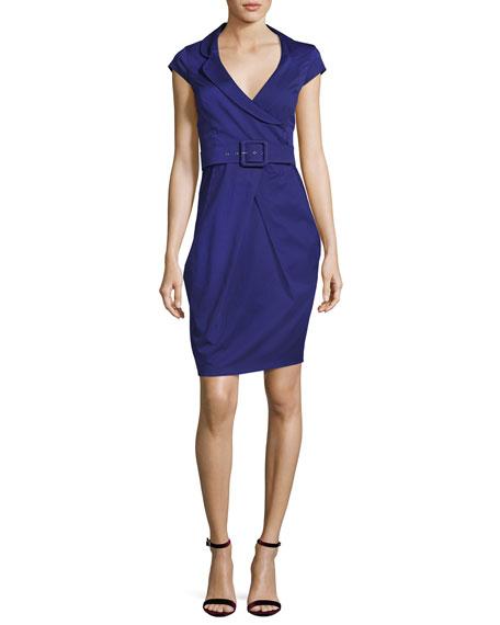 Cap-Sleeve Portrait-Collar Dress with Belt, Purple