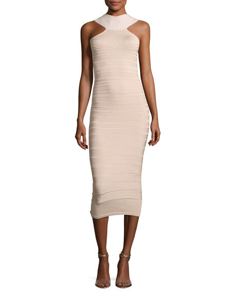 Cushnie Et Ochs Sleeveless Bandage Midi Cocktail Dress,