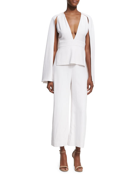 Plunging V-Neck Jumpsuit with Cape, White