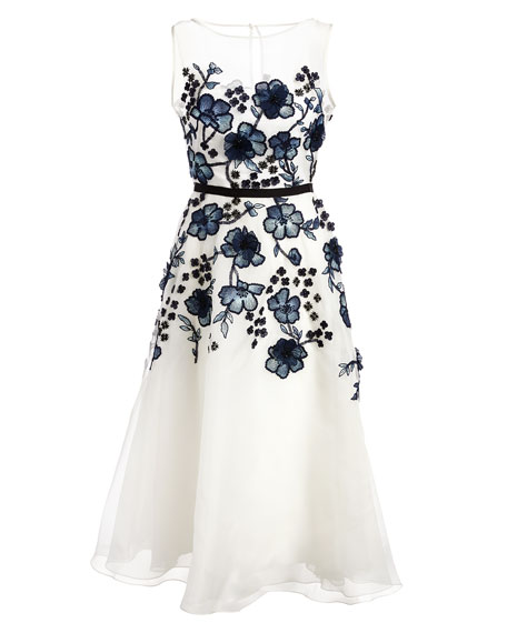 Floral-Embroidered Sleeveless Fit & Flare Dress, White/Blue