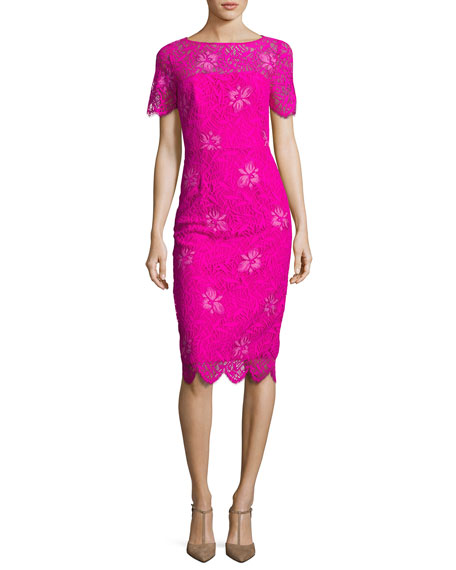 Lela Rose Floral Lace Short-Sleeve Sheath Dress, Fuchsia