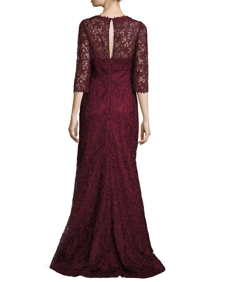 Lace V-Neck 3/4-Sleeve Gown