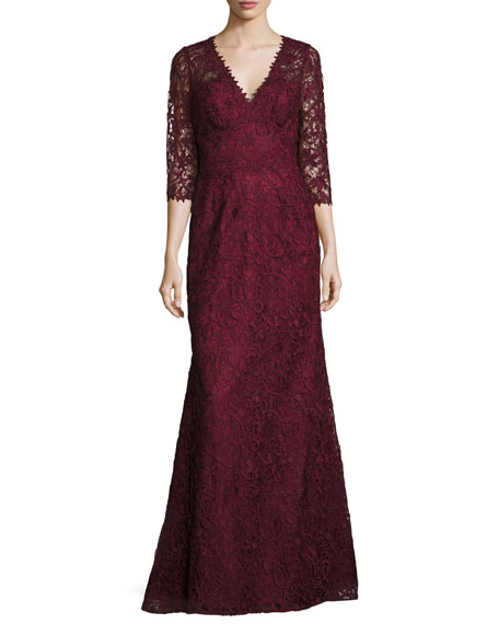 Liancarlo Lace V-Neck 3/4-Sleeve Gown