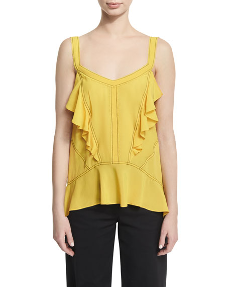 Derek Lam Ruffled Silk Georgette Camisole with Contrast
