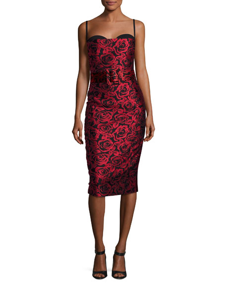 Rose Jacquard Sleeveless Cocktail Dress, Red/Black