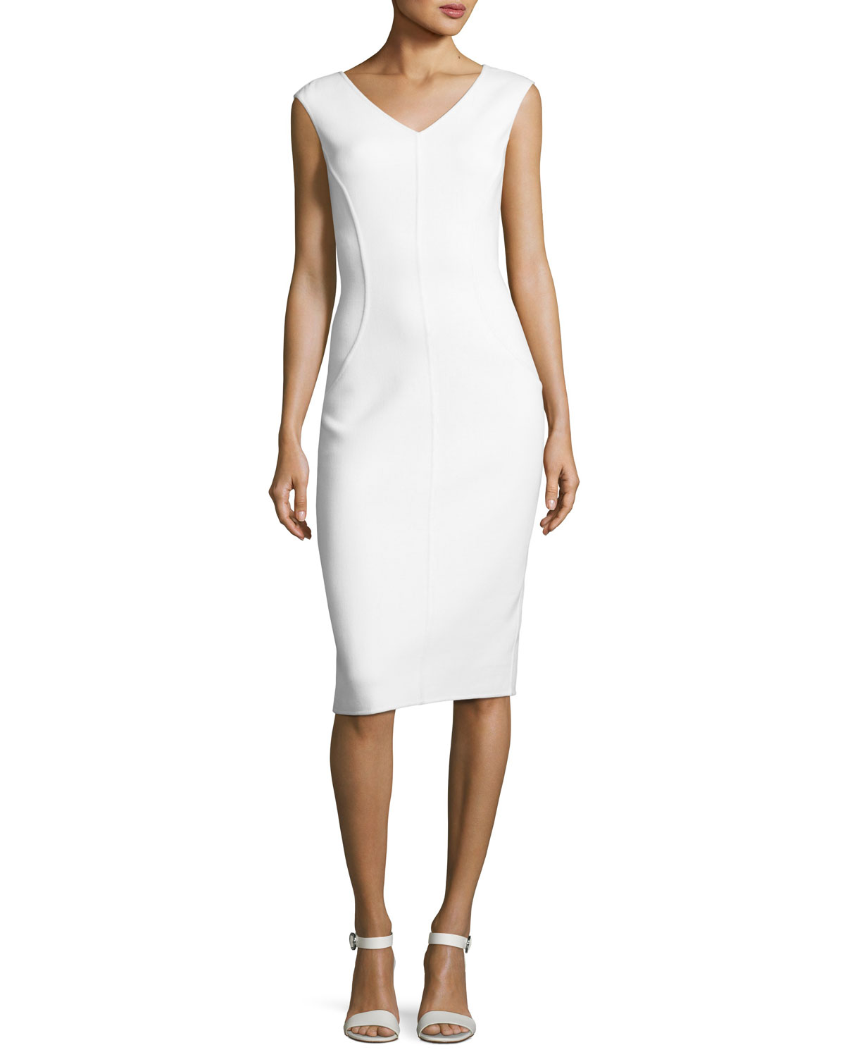Michael Kors Collection Cap Sleeve V Neck Sheath Dress