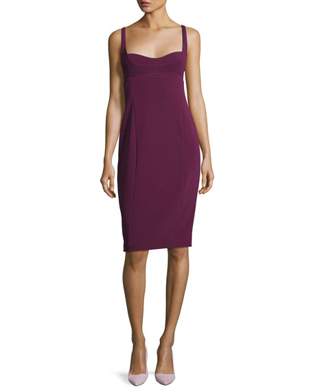 NARCISO RODRIGUEZ Silk-Blend Faille Sheath Dress - Lt. Purple Size 44 It