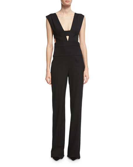 Sleeveless Cage-Top Virgin Wool Jumpsuit