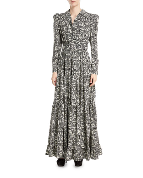 Co Floral Cr&#234pe de Chine Maxi Dress, Black/White