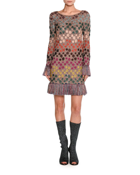 Missoni Long-Sleeve Lurex® Polka-Dot Shift Dress with
