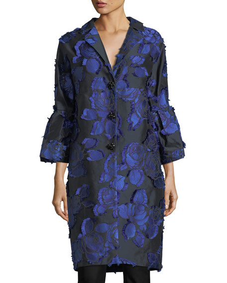 Lela Rose Floral Brocade Bell-Sleeve Coat, Black/Lapis and