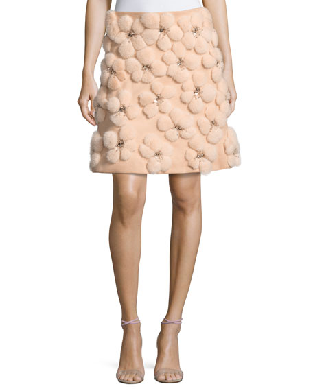 A-line Miniskirt with Embellished Mink Flowers, Blush
