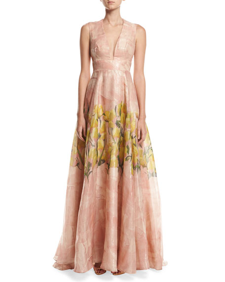 Lela Rose Floral Glossed Organza Deep V-Neck Gown, Blush/Multicolor