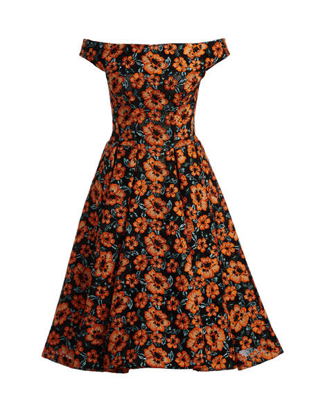 Off-the-Shoulder Embroidered Floral Dress, Black/Burnt Orange