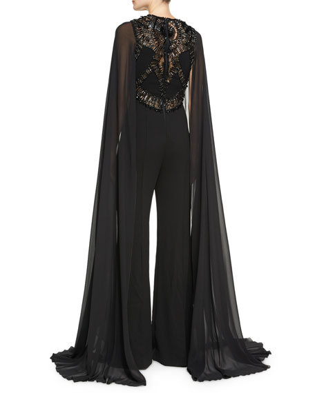 Beaded Cape-Sleeve Jumpsuit, Black
