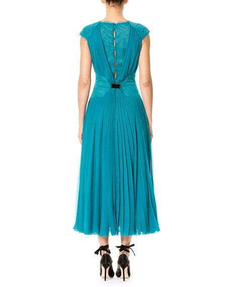Cap-Sleeve Lace & Plissé Dress, Teal