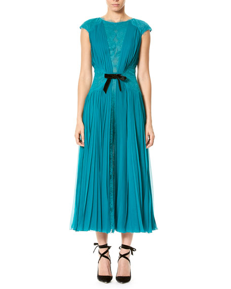 Cap-Sleeve Lace & Plissé Dress, Teal